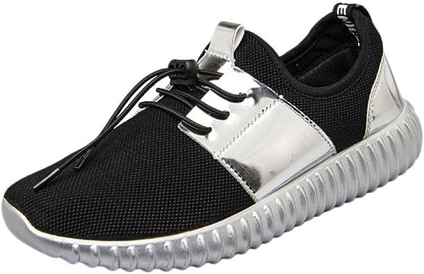 OHQ Mode éPisséE Maille en Cuir Verni Respirant Chaussures