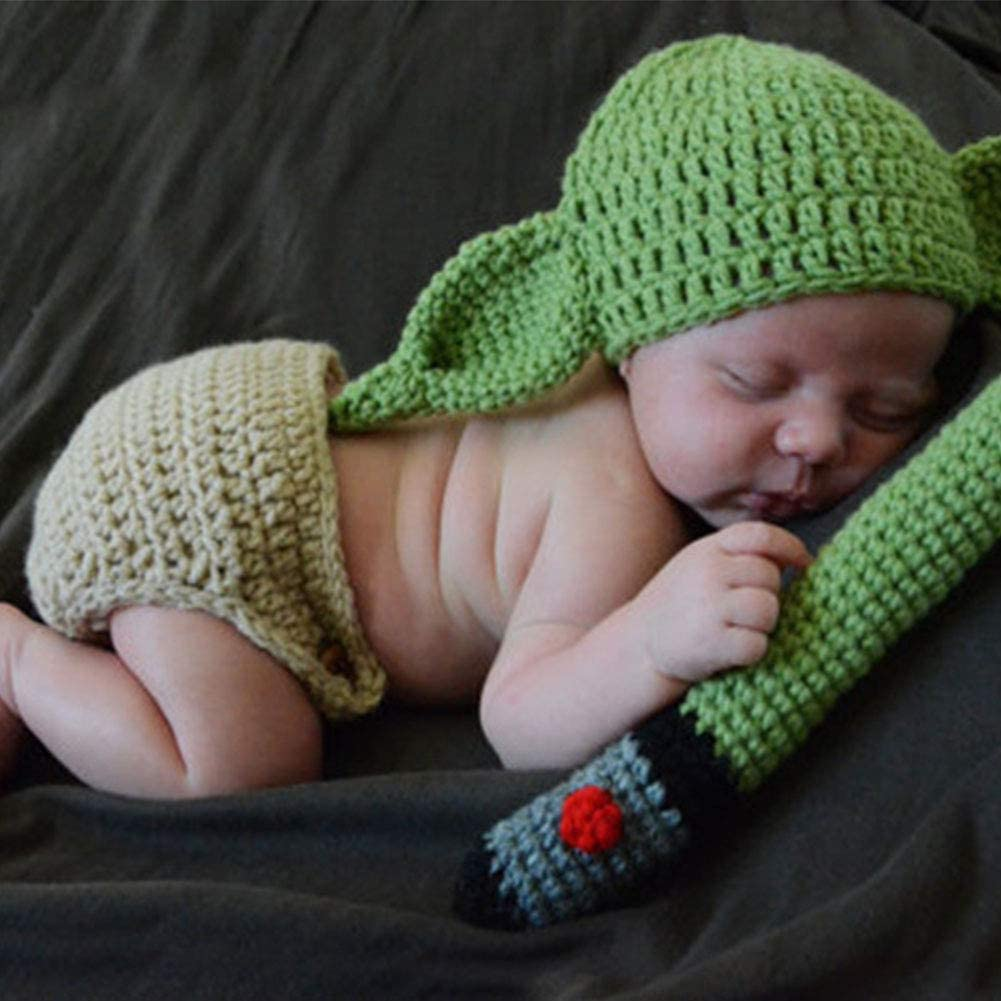 ZSooner - Conjunto de disfraz de yoda de punto de ganchillo hecho a mano para recién nacido