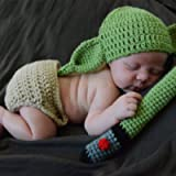Baby Photography Prop Outfits,Handmade Crochet Knit Yoda Costume Set for Newborn Infant Photography