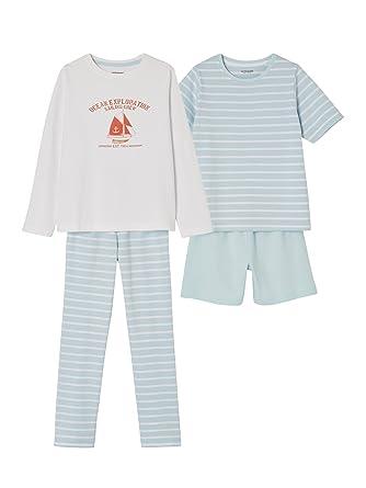 65228998976ca Vertbaudet Lot Pyjashort + Pyjama garçon combinables Bleu Clair 4 A ...