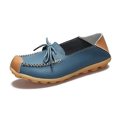 Bridfa Zapatos de mujer Zapatos de cuero genuino Zapatos de madre Niñas Señoras Zapatos casuales Cómodo Mocasines de mujeres respirables Mocasines: ...