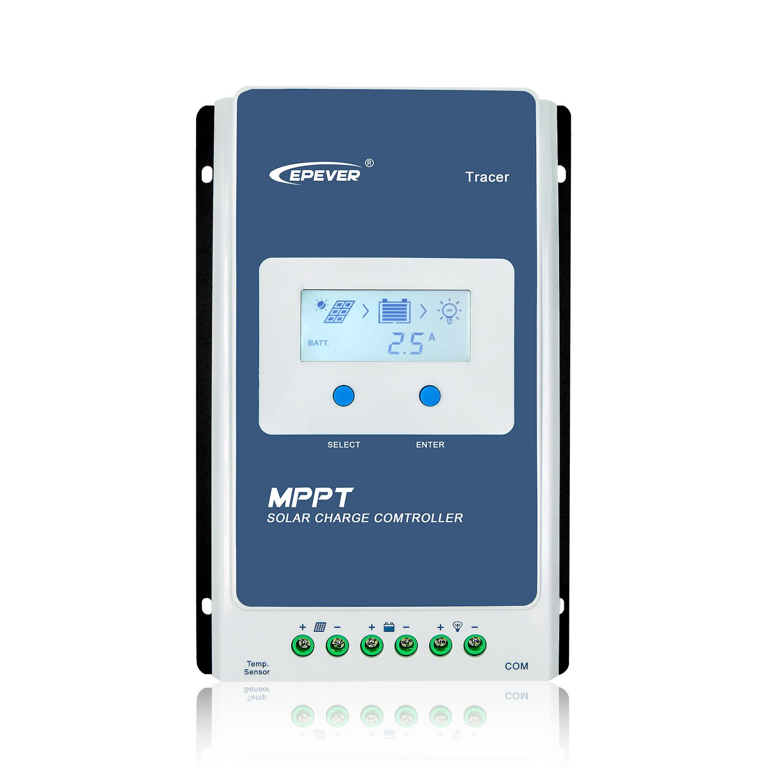 EPever MPPT Solar Charge Controller 40A Upgrade Tracer4210AN with LCD Display 12V/24V Auto Max PV 100V Solar Panel Charging Battery Regulator for Gel Flooded Sealed Lithium Battery (Tracer4210AN)