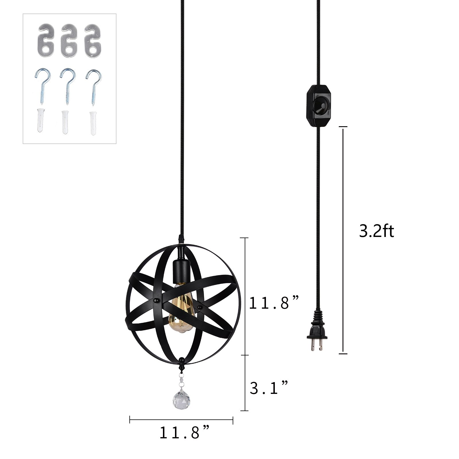 HMVPL Plug-in Industrial Globe Pendant Lights with 16.4 Ft Hanging Cord and Dimmable On/Off Switch, Vintage Metal Spherical Lantern Chandelier Ceiling Light Fixture by HMVPL (Image #7)