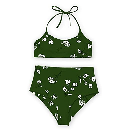 23180dd4dd588 Amazon.com: Women Swimsuits Two Piece Floral Halter Push-Up Padded Bikini  Set Beach Swimwear Bathing Suit: Clothing