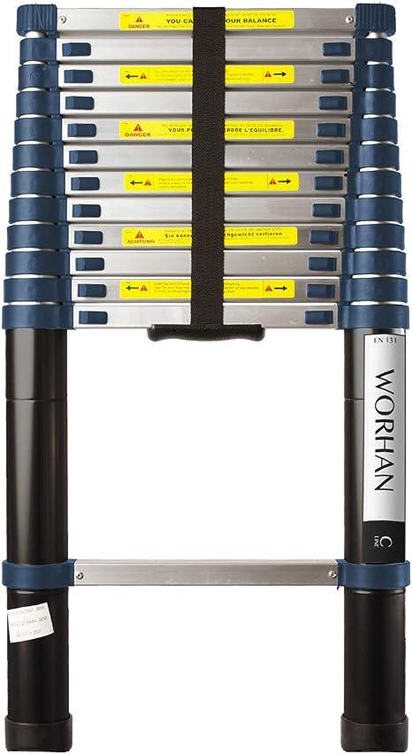 WORHAN® 3.8m Escalera Telescopica PRO Multiuso Aluminio Anodizado Calidad Alta 380cm (.3.8m C-line) 1K3.8C: Amazon.es: Bricolaje y herramientas