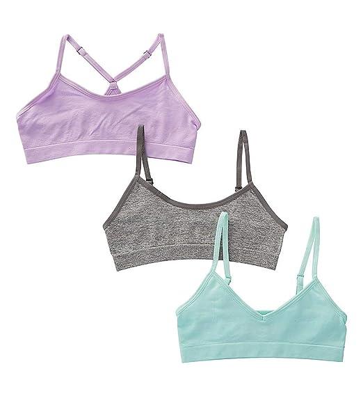 995f6cae5a0 Amazon.com  Maidenform Girls Girl s Seamless 3-Pack Beginner Crop Bra  (Little Kids Big Kids)  Clothing