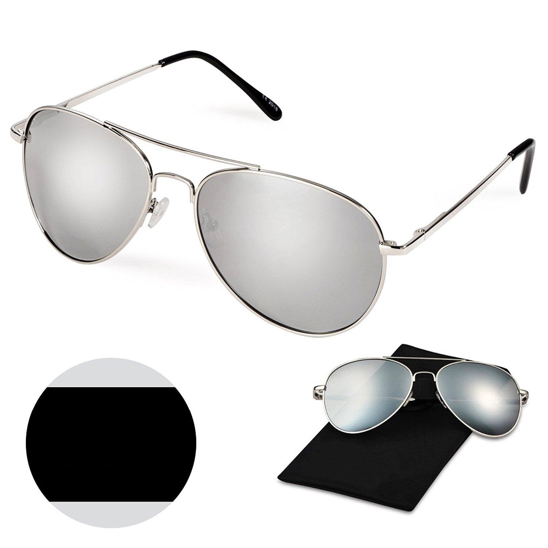 Classic Aviator Style Sunglasses, WITERY Premium Full Mirrored Aviator Metal Frame Polarized Sunglasses Flat Matte Reflective Lens UV400 Protection
