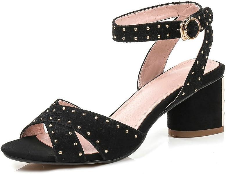 75d558b05cf Women Block Heeled Sandals Ankle Strap Genuine Leather Chunky High Heel  Open Toe Rhinestone Studs Black