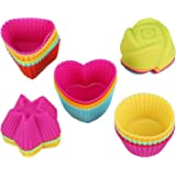 VIPITH 30 Pcs Silicone Cupcake Moulds Reusable Nonstick Heat Resisitant Baking Cups Rainbow Cupcake Muffin Cases for Cakes Ice Creams Puddings 5 Shapes 6 Multipule Colors
