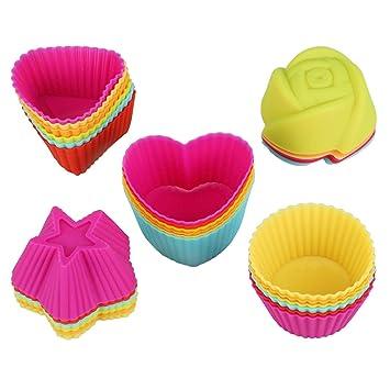VIPITH - Moldes de silicona antiadherentes reutilizables para cupcakes y magdalenas, 30 unidades, 5