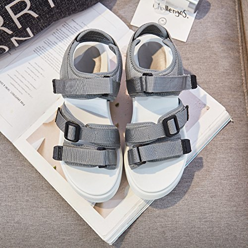 Sandals Female Shoe Thick Shoes Sandals Lin Lycra Spring Xing With Women Casual Velcro A New Shoes Grey Bottom Ladies Single OxUq8gwFt