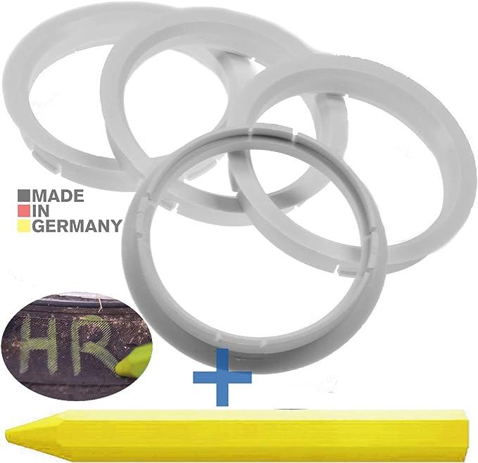4x Zentrierringe Weiß 72 5 Mm X 65 1 Mm 1x Reifen Kreide Fett Stift Auto