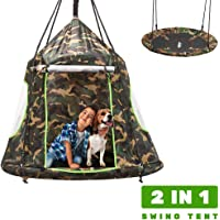 Zupapa Hanging Tree Swing, 2 in 1 Detachable Saucer Tree Swing Play House Tent for Kids, Max Capacity 330 LBS for Indoor Outdoor Use, Tree Straps Included Gift Idea for Xmas (Camouflage)