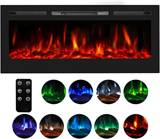 "Esright 50/"" Recessed Wall Mounted Electric Fireplace 750-1500W /& Colorful Flame"