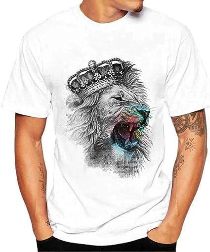 Camisa Slim Fit Sport Print De Hombres Camisa Camiseta Los Ropa Festiva Venta Verano Moda León Estampado Diario Simple Manga Corta tee Tops: Amazon.es: Ropa y accesorios