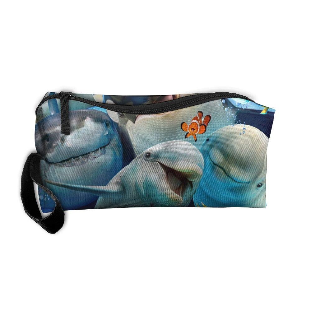 Mrshelp Ocean Animals Dolphin Shark Turtle Whale Selfie Portable Storage Bag Toiletry Bag Fashion Travel Storage Pouch