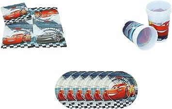 ALMACENESADAN, 0500, Pack Desechables Fiestas y cumpleaños Disney Cars, Pack 6 Platos 20 cms, Pack 6 Vasos, Pack 16 servilletas Disney Cars: Amazon.es: Juguetes y juegos
