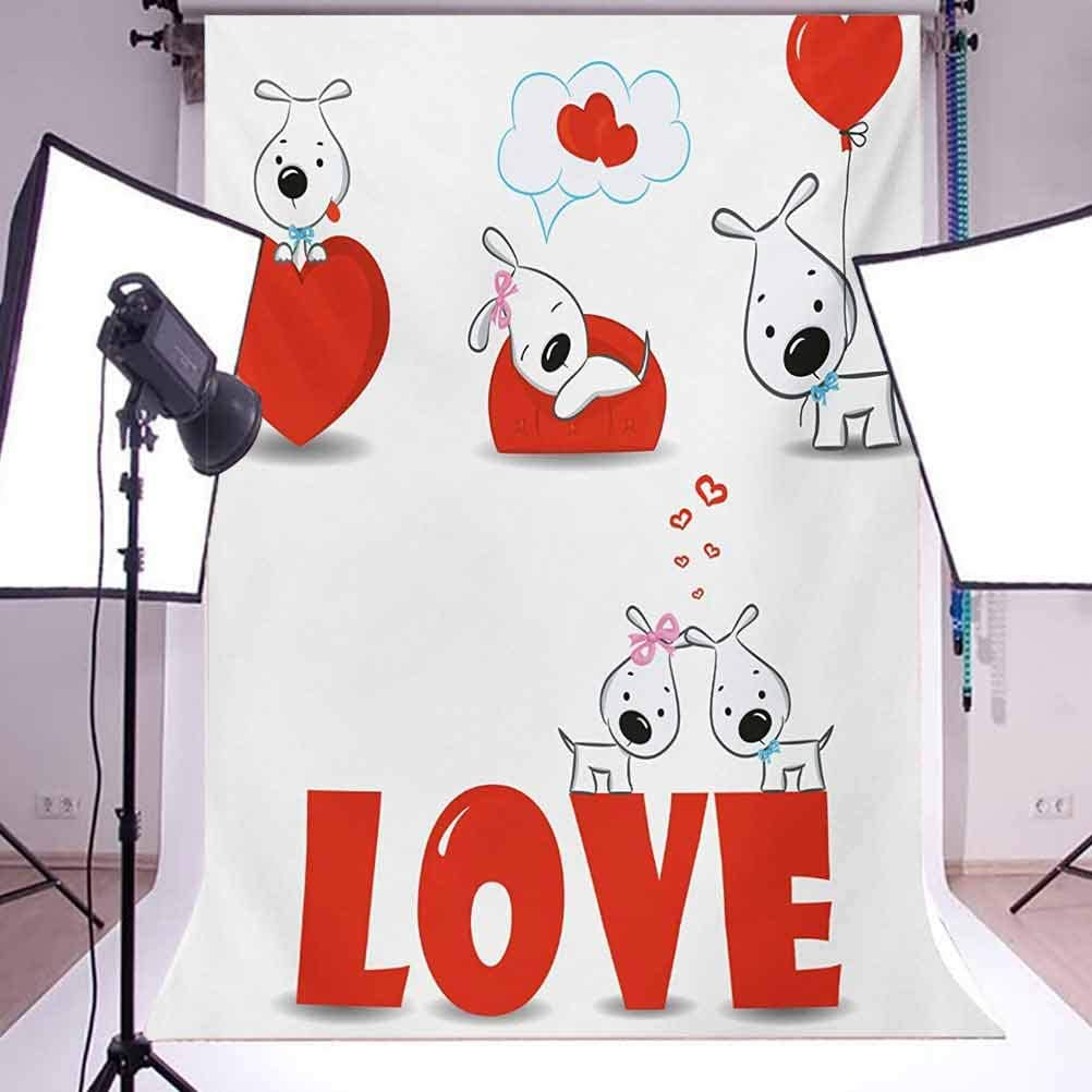 Valentines Day 6.5x10 FT Backdrop Photographers,Puppy Love with Hearts and Dogs His and Hers Heart Balloon Romantic Print Background for Party Home Decor Outdoorsy Theme Vinyl Shoot Props Red White