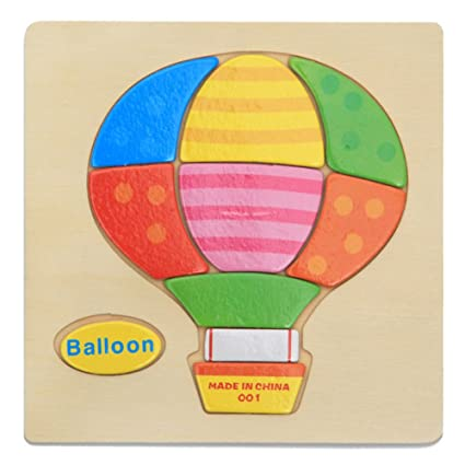 Alician Toy Children Cartoon Wooden Intelligence Jigsaw Puzzle Toy Animal Transportation Cognize Hands Grip Toy hot air Balloon