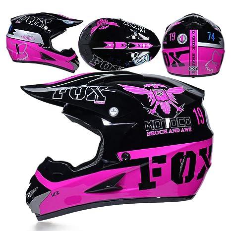 CFYBAO Casco De Motocross con Regalos Gafas Máscara Guantes Fox Moto Racing Casco Integral para Hombre Y Mujer: Amazon.es: Deportes y aire libre