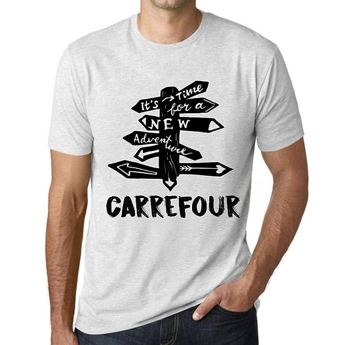 One in the City Hombre Camiseta Vintage T-Shirt Gráfico Time For New Advantures Carrefour Blanco Moteado: Amazon.es: Ropa y accesorios