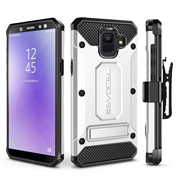 Galaxy A6 (2018) Case, Evocel [Explorer Series Pro] Premium Full Body Case with Glass Screen Protector, Belt Clip Holster, Metal Kickstand for Samsung ...
