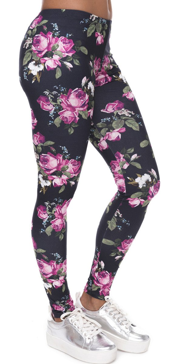 Ndoobiy Women's Printed Leggings Full-Length Plus Size Yoga Workout Leggings Pants Soft Capri L1(Pink Roses PS)