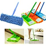Maharsh Wet and Dry Cleaning Flat Microfiber Floor Cleaning Mop with Telescopic Long Handle Dry Mop, Standard (Multicolour)