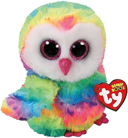 "Ty Beanie Boos 9/"" MEDIUM Owen the Rainbow Owl Stuffed Animal Plush w// Heart Tags"