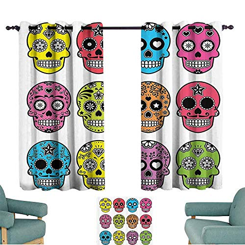 DILITECK Novel Curtains Skulls Decorations Collection Ornate Colorful Traditional Mexian Halloween Skull Icons Dead Humor Folk Art Print Blackout Draperies for Bedroom Living Room W72 xL72 Multi
