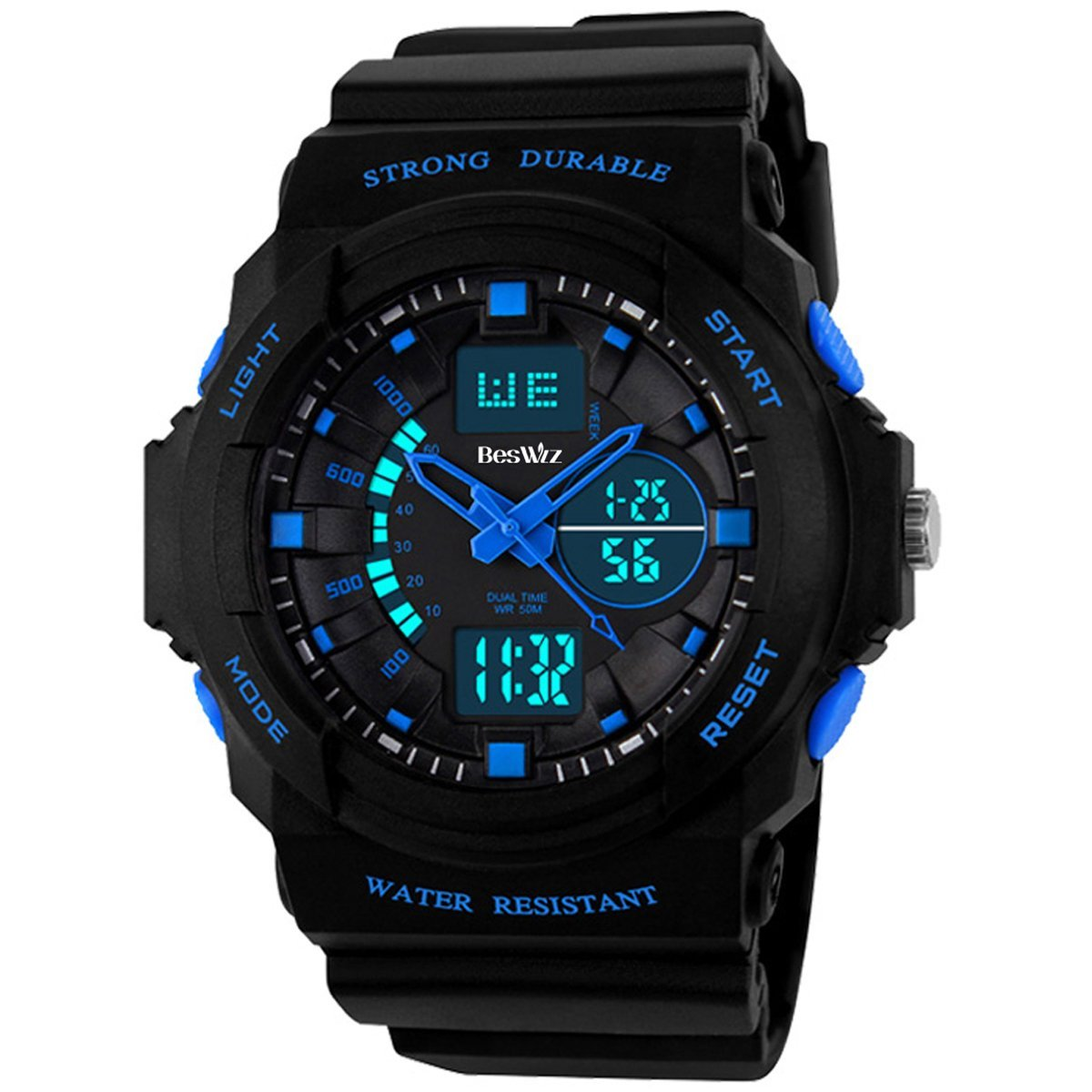 BesWLZ Kids Sports Watches Multi Function Waterproof Quartz Watch Wrist Dress Watch with LED Digital Alarm Stopwatch for Boy - Blue by BesWlz