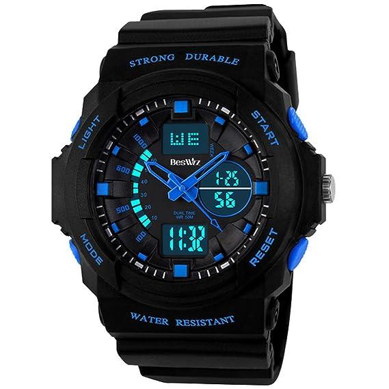 30fe6967a Amazon.com  BesWLZ Kids Sports Watches Multi Function Waterproof Quartz Watch  Wrist Dress Watch with LED Digital Alarm Stopwatch for Boy – Blue  Watches