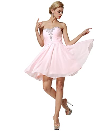 FAIRY COUPLE Sweetheart Strapless A-line Short Chiffon Homecoming Dress D0363