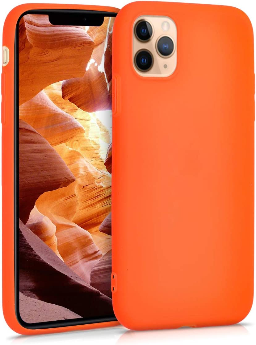 kwmobile TPU Case for Apple iPhone 11 Pro Max - Soft Thin Slim Smooth Flexible Protective Phone Cover - Neon Orange