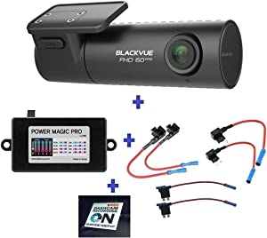 HDVD BlackVue DR590-1CH 128GB, Car Black Box/Car DVR Recorder, Full HD 1080P, 60FPS, G Sensor, 128GB SD Card + Power Magic Pro + Fuse taps Warning Sign Included