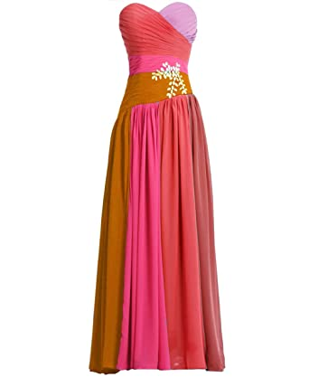 Fashion Plaza Chiffon Strapless Bridesmaid Evening Prom Party Dress D0192 (US8, Red Rosa)