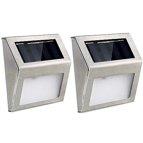 Lámparas solares para escalera Luces para exterior impermeables Luces inteligentes con sensor de movimiento, 2