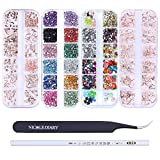 NICOLE DIARY Rose Gold Nail Studs Colorful Rhinestones 3D Nail Gems Fruit Slices Fimo Nail Art Tips Decoration Kit with Curved Tweezers Eyelash Nippers Wax Pencil Picker Tool for Nail Art Supplies