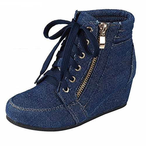 ShoBeautiful Women's Fashion Wedge Sneakers High Top Hidden Wedge Heel Platform Lace Up Shoes Ankle Bootie Blue Jean -