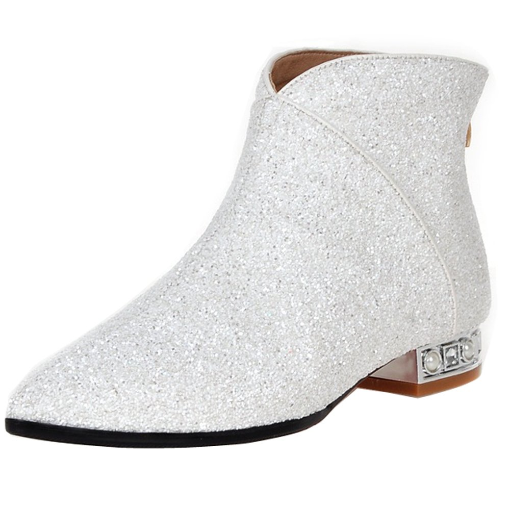 ENMAYER Women's Charming Sequins Style Mid Block Heel Ankle Boots B01IJQ3DTQ US 7 =CN38=Foot Length 24cm|White