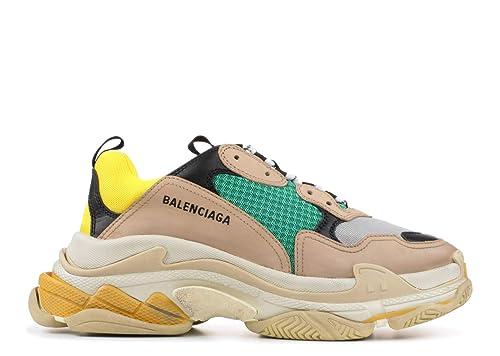 d17008547cd8 Balenciaga Men Women Triple S Mesh Nubuck Leather Platform Sneakers Fashion  Vintage Trainers Khaki Yellow Green