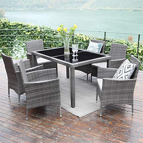 (Wisteria Lane Outdoor Patio Dining Set,7 Piece Wicker Furniture Seating Conversation Rattan Chair Glass Table(Grey Wicker,Grey Cushions))