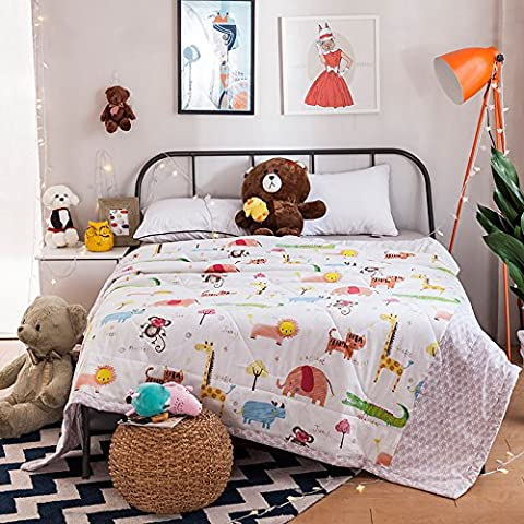 100% Cotton Made Toddler Duvet Comforter Spring & Summer Comforter / Blanket Crazy Animals 39