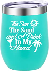 Pufuny The Sun The Sand and A Drink In My Hand Wine Tumbler,Insulated Travel Wine Tumbler for The Beach,Lake or Pool,Beach Gifts for Women 12 oz Mint Green