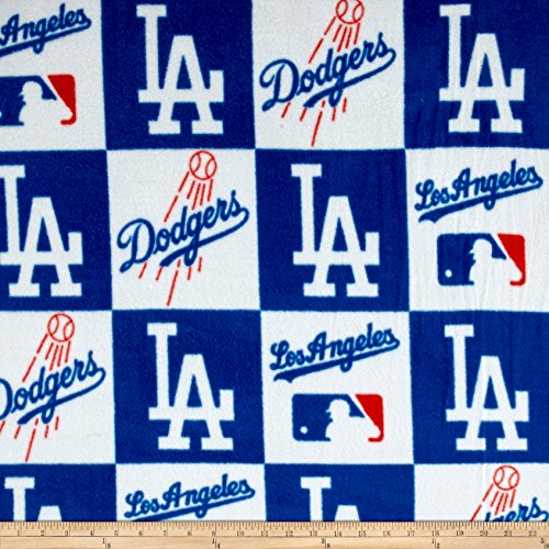 (Fabric Traditions MLB Los Angeles Dodgers Fleece Fabric by The Yard, Multi)