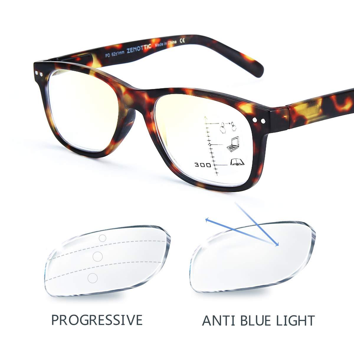 Raggi Blu Montatura per Occhiali da Uomo e Donna Occhiali da Lettura Multifocali Progressivi ClassicI Anti TARTARUGA, 2.50x