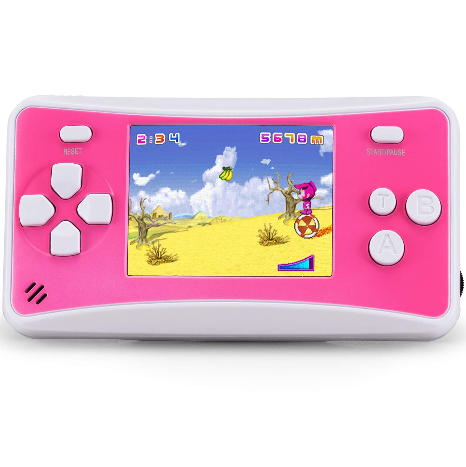 Mini Handheld Games for Children, 8 Bit Retro 152 Classic Games 2.5 Inch LCD Screen Portable Video Game Player Support for Connecting TV Birthday Best Gifts for Kids Boys Girls Ages 4-12 (Pink) by QoolPart