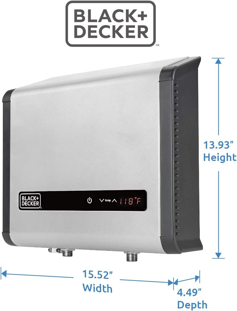 DECKER Black and Decker 18 kW 3.7 GPM Electric Tankless Water Heater BLACK Digital Self Modulating Hot Water Heater Electric