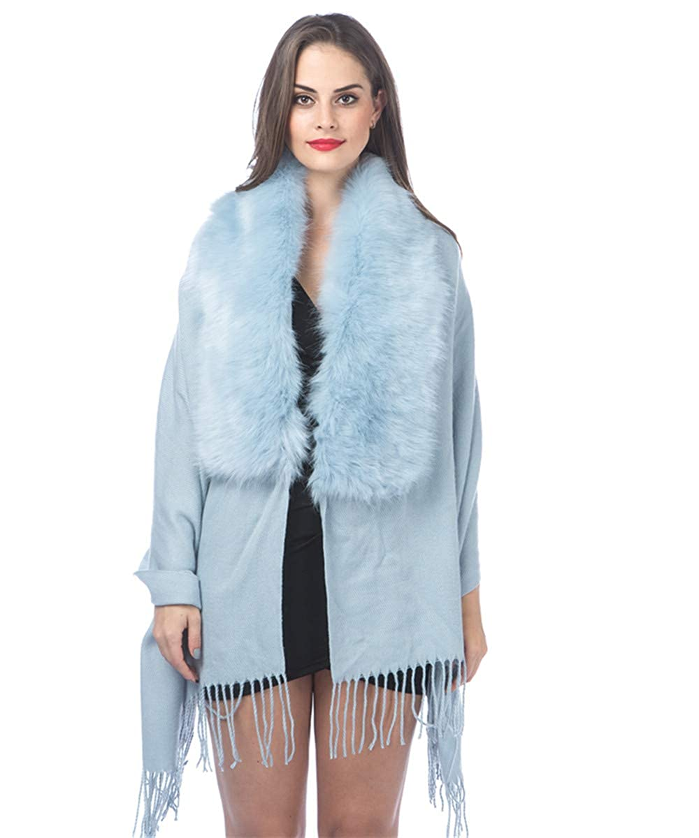 Lucky Leaf Cold Weather Luxurious Faux Fur Collar Joint Large Wrap Scarf for Ladies