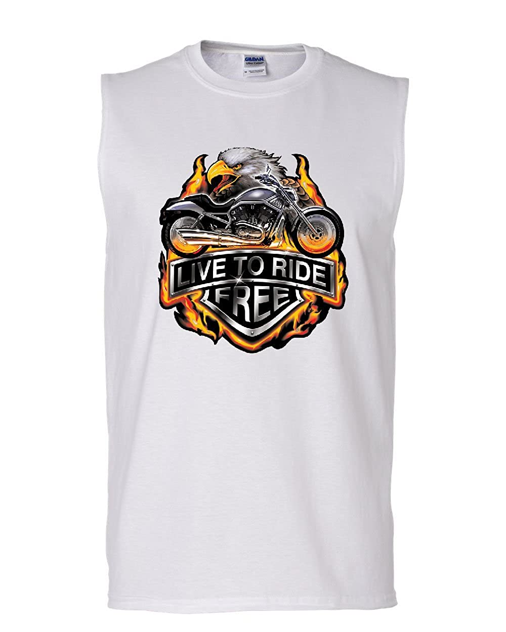 Live to Ride Muscle Shirt Flaming Eagle /& Bike Biker MC Sleeveless